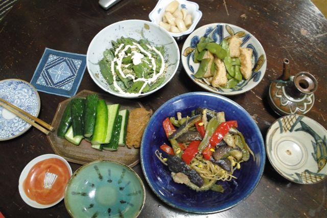 僕が作った夏野菜のさっぱり料理。器は沖縄の壺や焼きが多い。